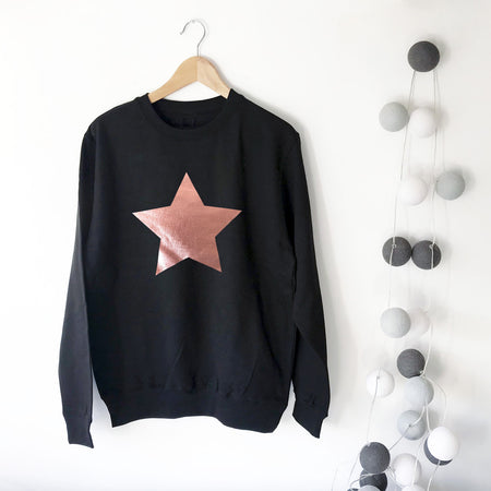 SAMPLE SALE Star Slouchy Womens Sweat Black & Rose Gold