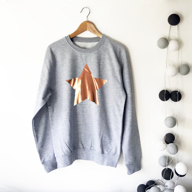 SAMPLE SALE Star Slouchy Womens Sweat GREY & Rose Gold