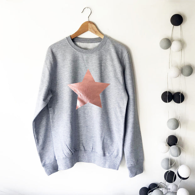 Metallic Star Boyfriend Fit Slouchy Sweat Grey / Rose Gold