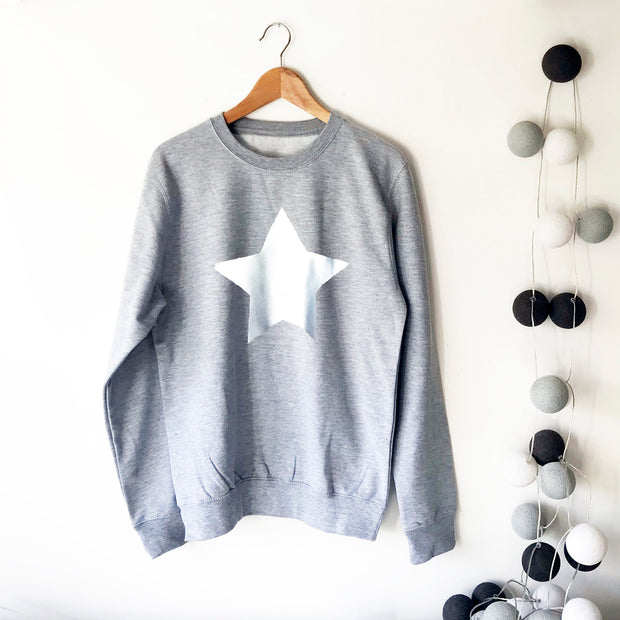 Metallic Star Boyfriend Fit Slouchy Sweat Grey Marl & Silver