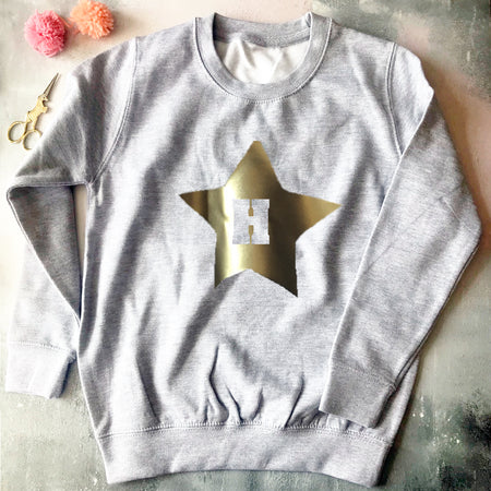 Metallic Star Initial Custom Kids Sweat Grey Marl