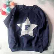 Metallic Star Initial Custom Kids Sweat Navy