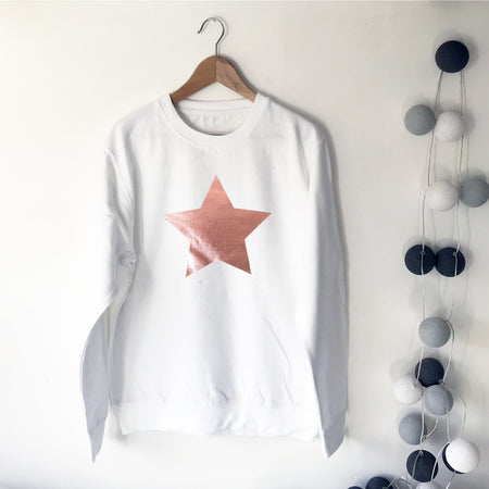 Metallic Star Boyfriend Fit Slouchy Sweat Winter White / Rose Gold