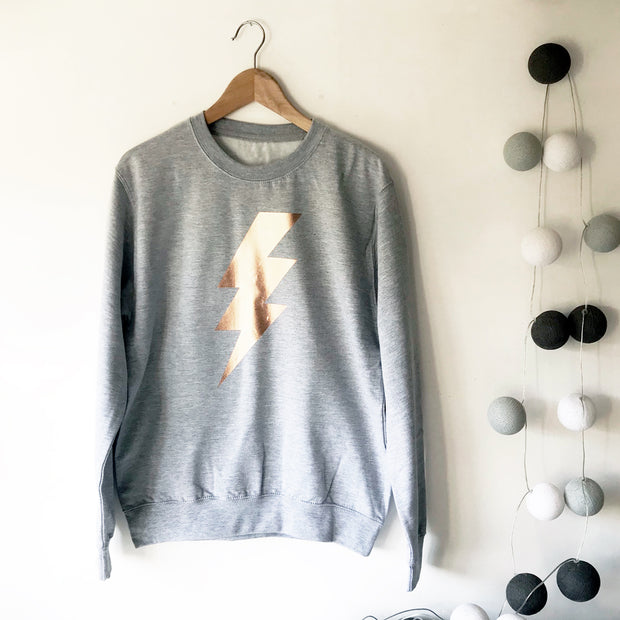 Flash Lightning Boyfriend Fit Sweat - Grey M / Rose Gold
