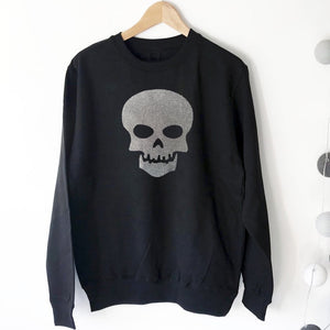 Glitter Skull Boyfriend Fit Sweat - BLACK/Grey