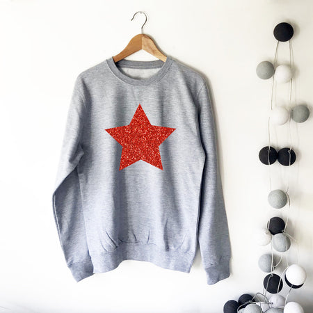 Star Glitter Boyfriend Fit Sweat - Grey Marl / Red Glitter