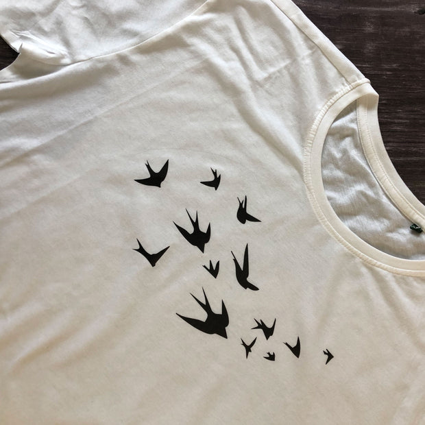 SAMPLE SALE - Swallows Organic Tee - White/ Black