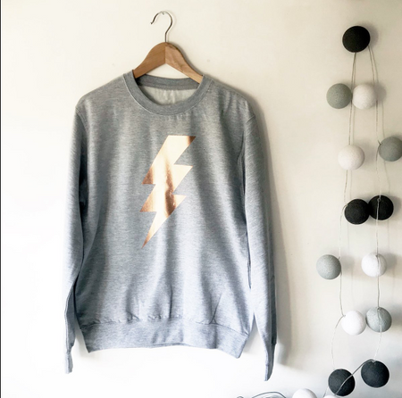 SAMPLE SALE - Lightening Flash Boyfriend Sweat - Grey/ Rose Gold