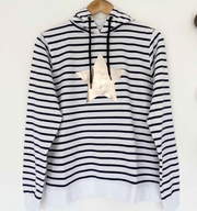 SAMPLE Organic STAR Breton Hoodie WHITE/ BLUE STRIPES