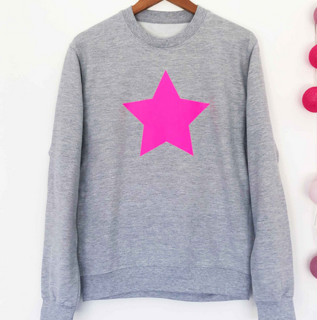 SAMPLE NEON STAR Boyfriend Fit Sweat GREY/NEON PINK