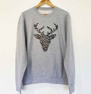SAMPLE Reindeer Boyfriend Fit Sweat GREY/ LEOPARD