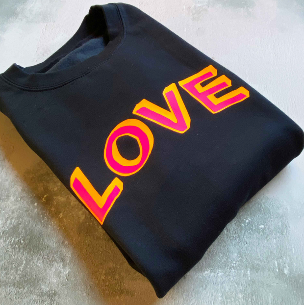 SAMPLE LOVE Boyfriend Fit Sweat FRENCH NAVY/ NEON