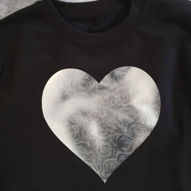 Silver Heart of Roses Boyfriend Fit Slouchy Sweat Black / Silver