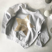 Sleepy Star Childrens Classic Sweat - Grey/Pale Gold
