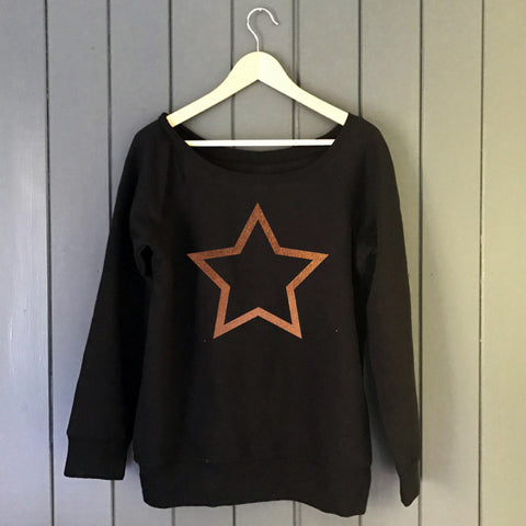 Starline Womens Wide Neck Softie Sweat Black/Copper