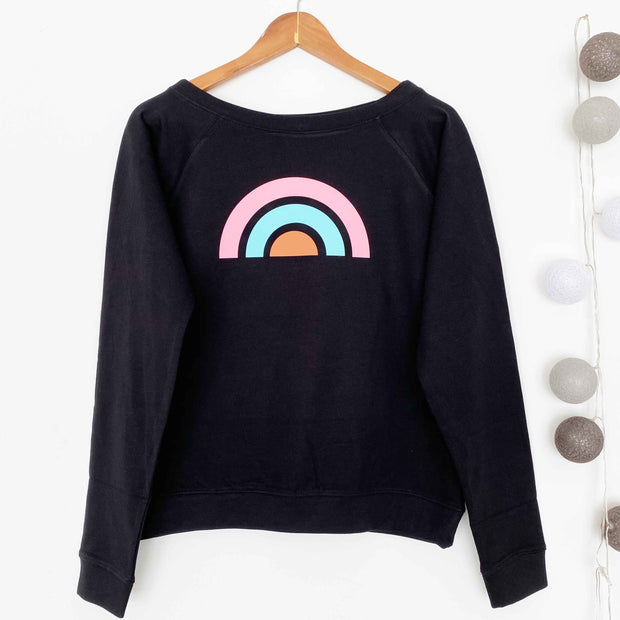 Retro Rainbow Slounge Sweatshirt/ Black