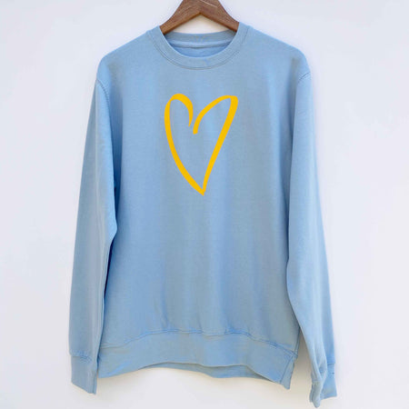 Sketched Heart Boyfriend Classic Sweat - SOFT BLUE