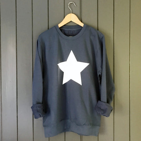 SAMPLE SALE Star Slouchy Womens Sweat Blue / White