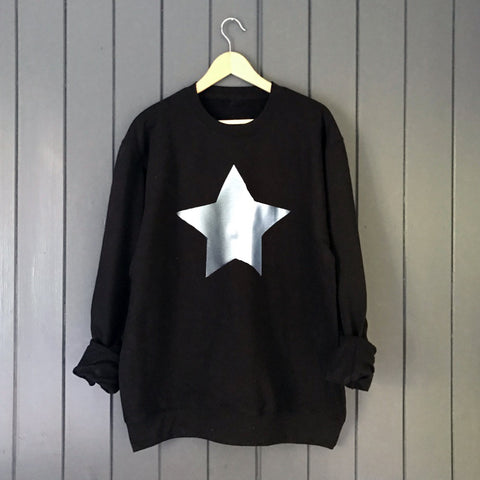 Metallic Star Boyfriend Fit Slouchy Sweat Black / Silver