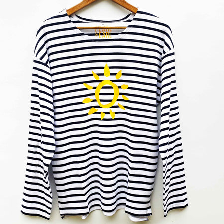 Breton 100% Organic Cotton 'Sketched Sun' Long Sleeve Tee - Stripe/ Yellow