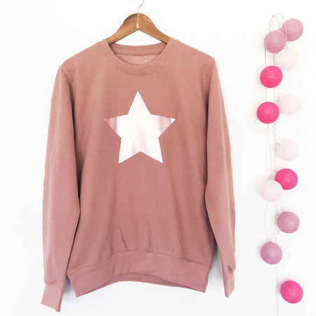 Star Boyfriend Classic Sweat - Dusty Pink/ Metallic Rose Gold