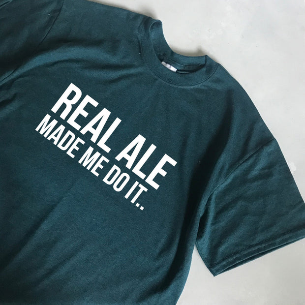 Real Ale Mens Tee - Teal/White