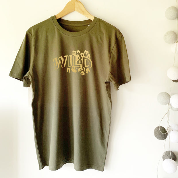WILD Leopard Doodle Organic Classic Ringspun Jersey Tee - Khaki / Pale Gold