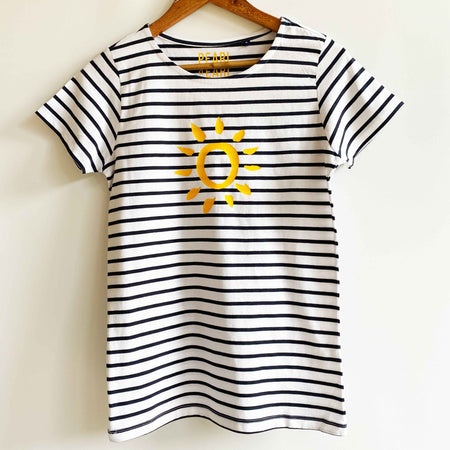 Breton Stripe 'Sun' 100% Cotton Short Sleeve Tee - White & Blue Stripe