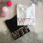WTF 100% Organic Cotton Classic Tee - Black/ Rose Gold Glitter