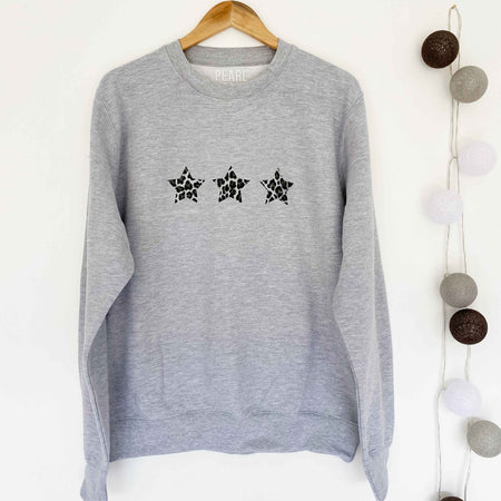 Triple Leopard Star Boyfriend Classic Sweat - GREY