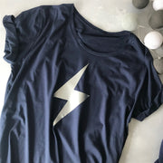 Flash Bolt Wideneck Oversize Jersey Tee Navy/Silver