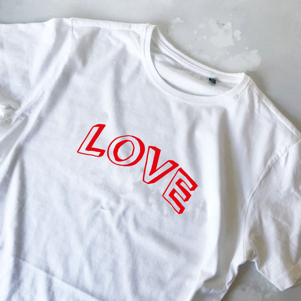 SAMPLE SALE LOVE Doodle Boyfriend Fit Tee White/Red