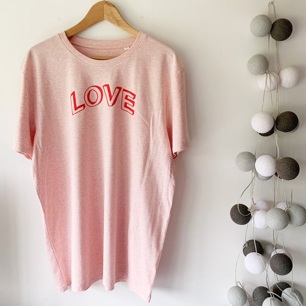 LOVE Doodle Organic Classic Ringspun Jersey Tee - Pink Marl / Red