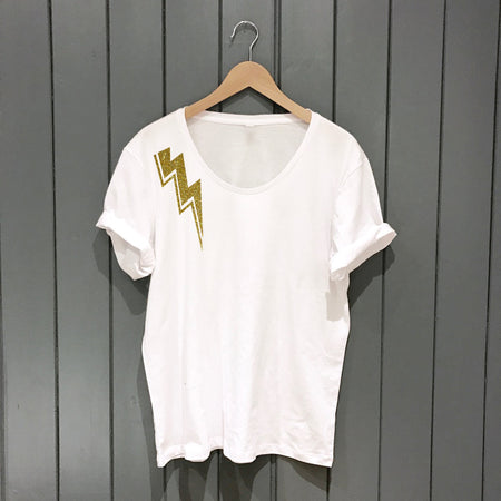 Stardust Lightening Wideneck Oversize Jersey Tee White/Gold
