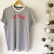 LOVE Stripe Classic Ringspun Jersey Tee - Navy / Red