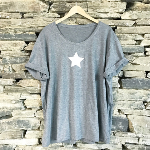Mini Star Wideneck Oversize Jersey Tee Charcoal/Silver