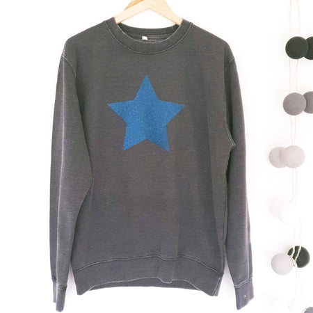 Glitter Star Washed Boyfriend Fit Sweat - Dark Blue Wash / Blue Glitter