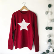 SAMPLE SALE - Glitter Star Boyfriend Sweat - Red/ White Glitter
