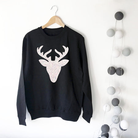 Glitter Reindeer Womens Slouchy Sweat White/Black Ltd Ed