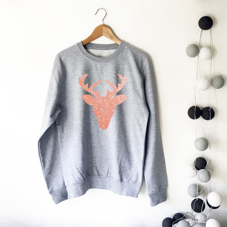 Glitter Reindeer Womens Slouchy Sweat Rose Gold/Grey Ltd Ed