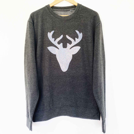 Glitter Reindeer Womens Slouchy Sweat FADED BLACK/ GLITTER