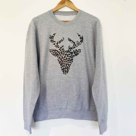 Leopard Reindeer Womens Slouchy Sweat GREY/ LEOPARD