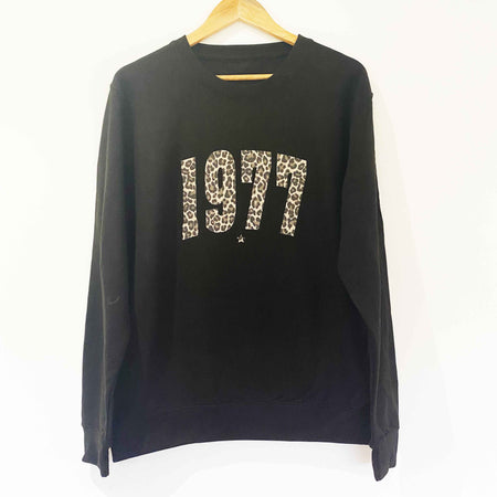 BESPOKE YEAR Boyfriend Fit Sweat - BLACK/ LEOPARD
