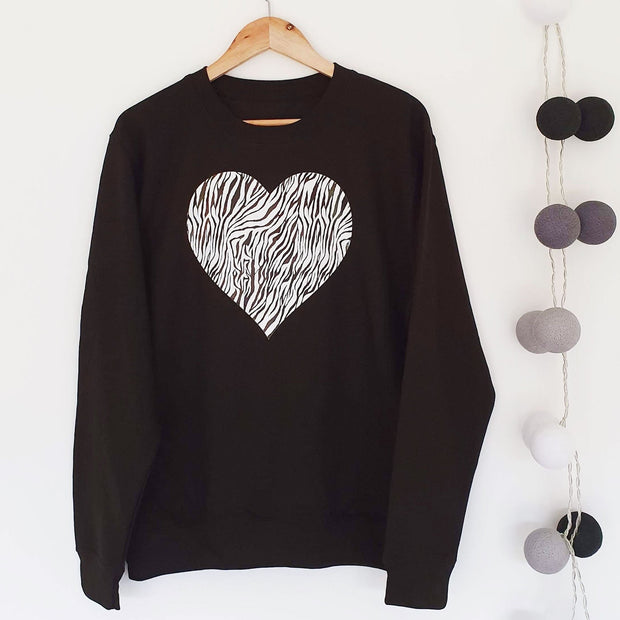 Wild at Heart Zebra Boyfriend Classic Sweat - BLK