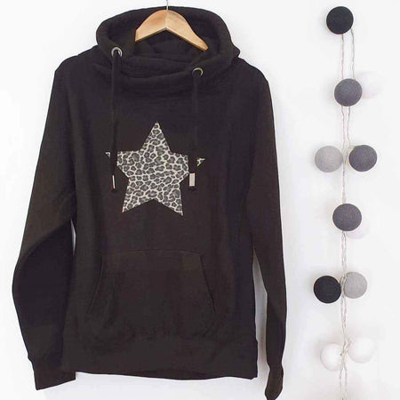 Leopard Star Cross Over Neck Heavyweight Hoodie - BLK