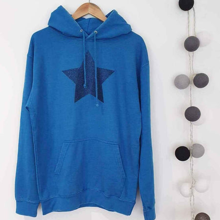Faded Sapphire Blue Hoodie Boyfriend Classic Sweat - Washed Blue & Blue Glitter Star