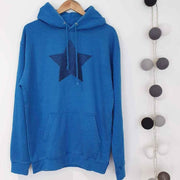 SAMPLE SALE - Blue Glitter Star Boyfriend Fit Hoodie - Washed Blue/ Blue