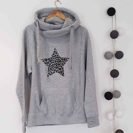 Leopard Star Cross Over Neck Heavyweight Hoodie - GREY