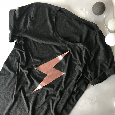 Flash Bolt Wideneck Oversize Jersey Tee Charcoal / Rose Gold
