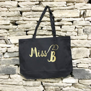 Miss / Mrs Custom Initial Large Canvas Tote